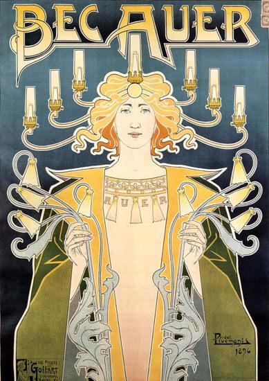 Bec Auer Belgium 1896 Illumination Art Nouveau | Sex Appeal Vintage Ads and Covers 1891-1970
