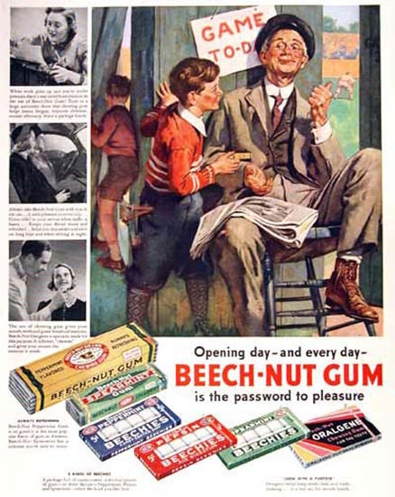 Beech-Nut Gum 1938 Baseball Opening Day | Vintage Ad and Cover Art 1891-1970