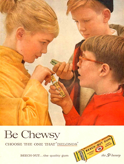 Beech-Nut Gum Be Chewsy Boy 1957 | Vintage Ad and Cover Art 1891-1970