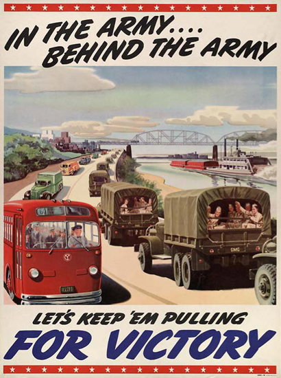 Behind The Army Lets Keep Em Pulling Victory | Vintage War Propaganda Posters 1891-1970