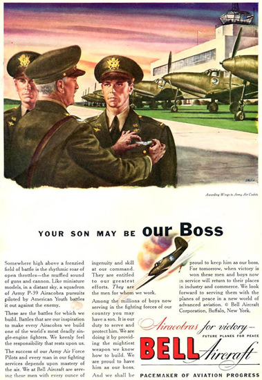 Bell Aircraft Our Boss 1942 | Vintage War Propaganda Posters 1891-1970
