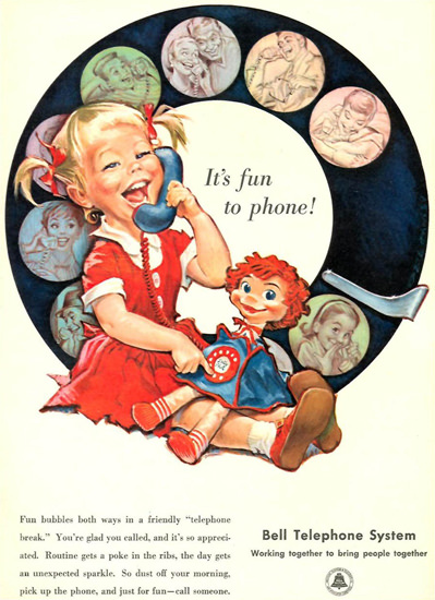 Bell Telephone Fun To Phone Girl 1958 Dial Plate | Vintage Ad and Cover Art 1891-1970