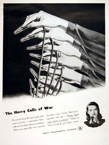 Bell Telephone System Hurry Calls Of War 1944   Vintage War Propaganda Posters 1891-1970