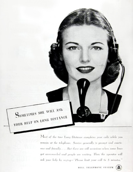 Bell Telephone System Operator 1945 Ask You | Sex Appeal Vintage Ads and Covers 1891-1970