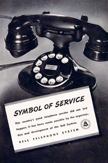 Bell Telephone System Symbol Of Service 1937 | Vintage Ad and Cover Art 1891-1970