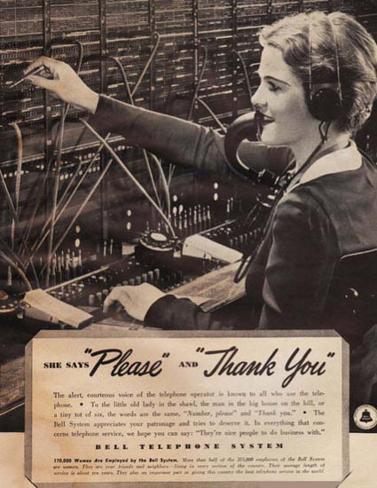 Bell Thelephone System She Says Thank You | Vintage Ad and Cover Art 1891-1970