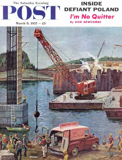 Ben Kimberly Prins Saturday Evening Post Bridge Construction 1957_03_09 | The Saturday Evening Post Graphic Art Covers 1931-1969