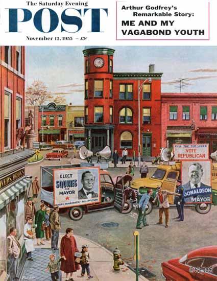 Ben Kimberly Prins Saturday Evening Post Candidate Clash 1955_11_12   The Saturday Evening Post Graphic Art Covers 1931-1969