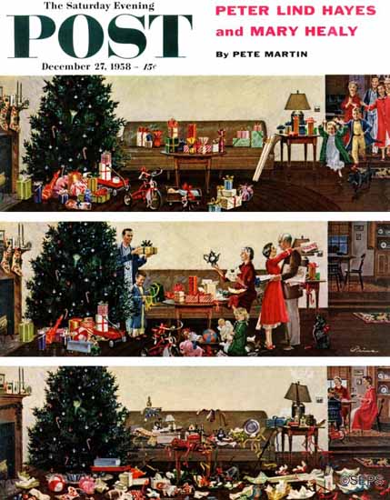Ben Kimberly Prins Saturday Evening Post Christmas Morning 1958_12_27 | The Saturday Evening Post Graphic Art Covers 1931-1969