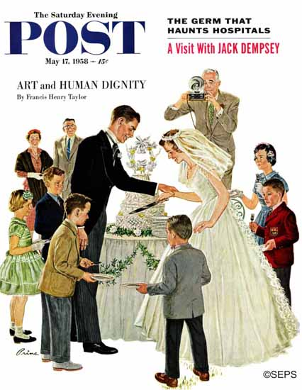 Ben Kimberly Prins Saturday Evening Post Cutting the Cake 1958_05_17   The Saturday Evening Post Graphic Art Covers 1931-1969