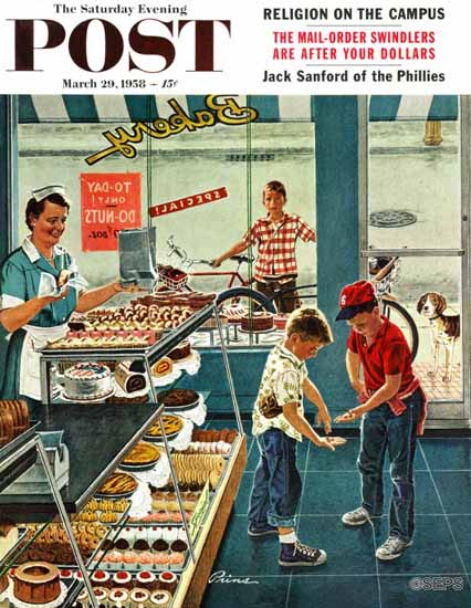 Ben Kimberly Prins Saturday Evening Post Doughnuts Change 1958_03_29 | The Saturday Evening Post Graphic Art Covers 1931-1969