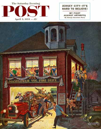 Ben Kimberly Prins Saturday Evening Post Firemans Ball 1954_04_03 | The Saturday Evening Post Graphic Art Covers 1931-1969
