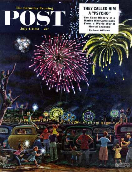 Ben Kimberly Prins Saturday Evening Post Fireworks 1953_07_04 | The Saturday Evening Post Graphic Art Covers 1931-1969
