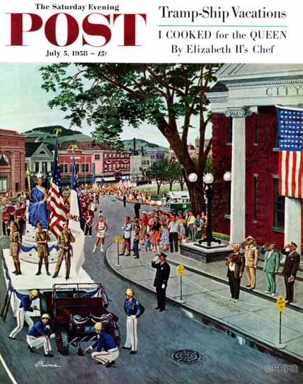 Ben Kimberly Prins Saturday Evening Post Float Flat 1958_07_05 | The Saturday Evening Post Graphic Art Covers 1931-1969