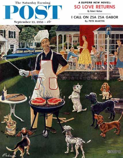 Ben Kimberly Prins Saturday Evening Post Hot Dogs 1958_09_13   The Saturday Evening Post Graphic Art Covers 1931-1969
