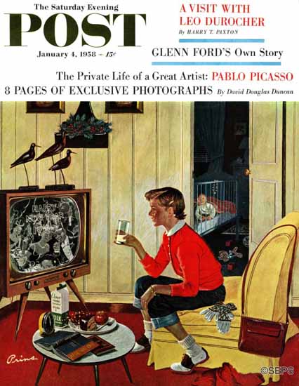 Ben Kimberly Prins Saturday Evening Post Last Babysitter 1958_01_04 | The Saturday Evening Post Graphic Art Covers 1931-1969
