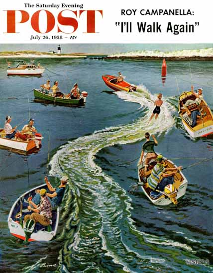 Ben Kimberly Prins Saturday Evening Post Making a Wake 1958_07_26 | The Saturday Evening Post Graphic Art Covers 1931-1969