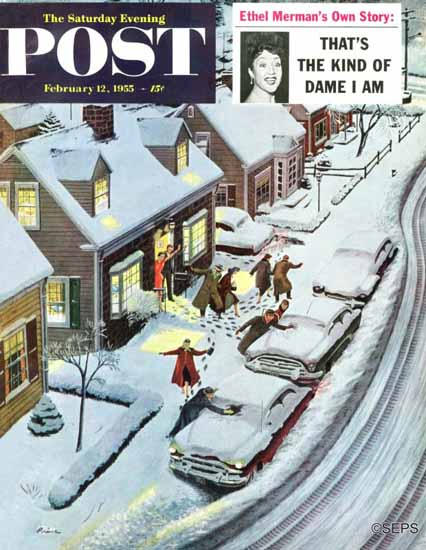Ben Kimberly Prins Saturday Evening Post Party After Snowfall 1955_02_12 | The Saturday Evening Post Graphic Art Covers 1931-1969