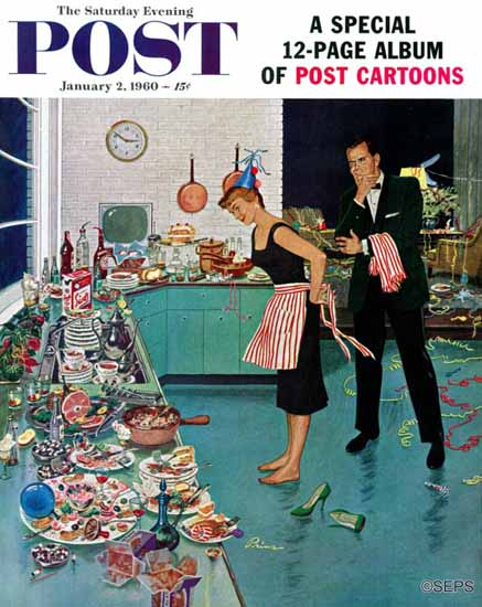 Ben Kimberly Prins Saturday Evening Post Party Clean-Up 1960_01_02 | The Saturday Evening Post Graphic Art Covers 1931-1969
