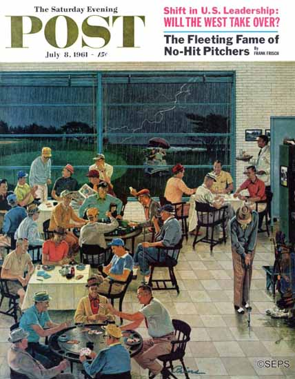 Ben Kimberly Prins Saturday Evening Post Rainy Club Day 1961_07_08 | The Saturday Evening Post Graphic Art Covers 1931-1969