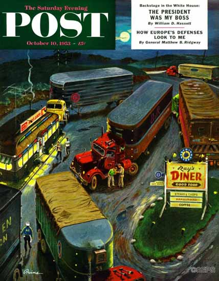 Ben Kimberly Prins Saturday Evening Post Truck Stop Diner 1953_10_10 | The Saturday Evening Post Graphic Art Covers 1931-1969