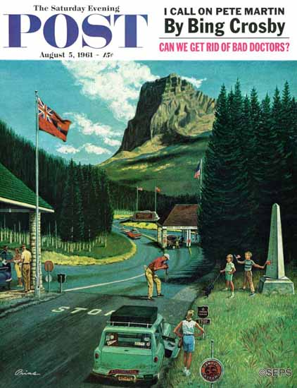 Ben Kimberly Prins Saturday Evening Post Waterton-Glacier 1961_08_05 | The Saturday Evening Post Graphic Art Covers 1931-1969
