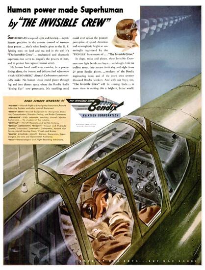 Bendix Aviation Co Superhuman | Vintage War Propaganda Posters 1891-1970