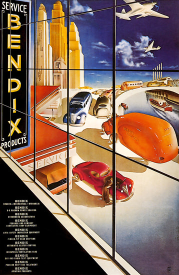 Bendix Service Products 1937 by Arthur Ch Radebaugh | Vintage Ad and Cover Art 1891-1970