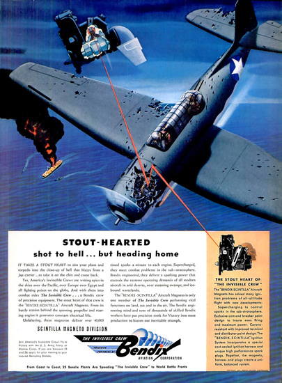 Bendix Stout-Hearted Shot To Hell Heading Home | Vintage War Propaganda Posters 1891-1970