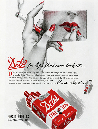 Benson Hedges Debs Cigarettes Lips 1940 | Sex Appeal Vintage Ads and Covers 1891-1970