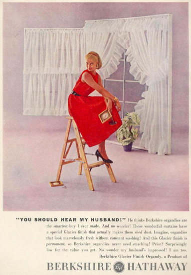 Berkshire Hathaway Curtains Red Woman 1956 | Sex Appeal Vintage Ads and Covers 1891-1970