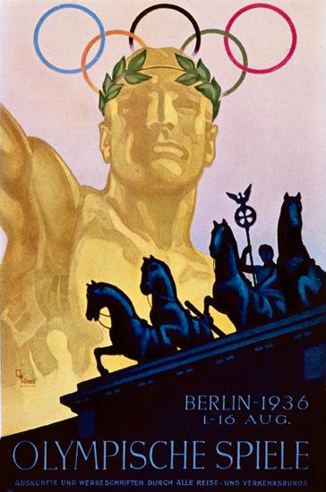 Berlin 1936 Olympische Spiele Brandenburgertor | Vintage Ad and Cover Art 1891-1970