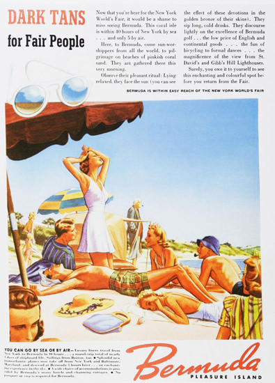 Bermuda Pleasure Island Dark Tans For Fair 1930s | Sex Appeal Vintage Ads and Covers 1891-1970