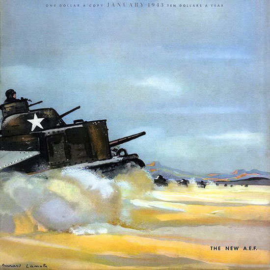 Bernard La Motte Fortune Magazine January 1943 Copyright crop | Best of Vintage Cover Art 1900-1970