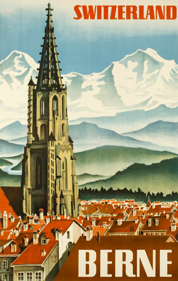 Berne Old Town Dome Alps Switzerland 1934 | Vintage Travel Posters 1891-1970