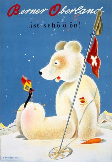 Berner Oberland Ist Schoen Ski Baer | Vintage Travel Posters 1891-1970