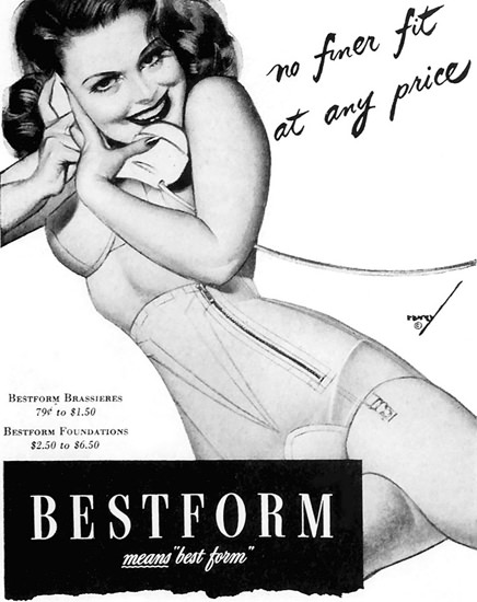 Bestform Brassieres Pin-Up George Petty 1944 | Sex Appeal Vintage Ads and Covers 1891-1970