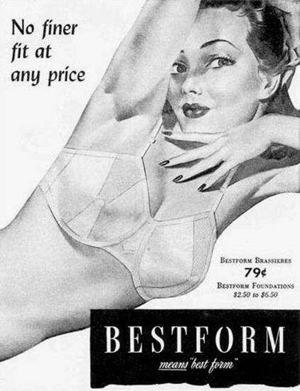 Bestform Girdles And Brassieres No Finer Fit 1944 | Sex Appeal Vintage Ads and Covers 1891-1970