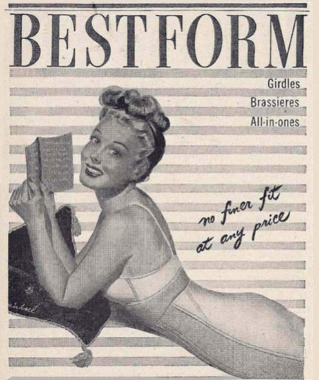 Bestform Girdles Bras All-In Ones Pin-Up Reading | Sex Appeal Vintage Ads and Covers 1891-1970