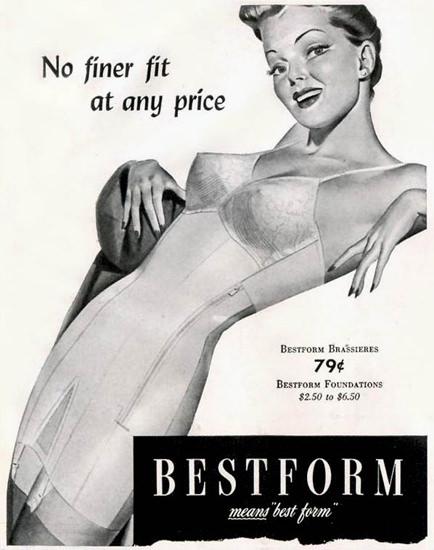 Bestform Girdles Bras Lingerie No Finer Fit 1942 | Sex Appeal Vintage Ads and Covers 1891-1970