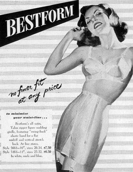 Bestform Girdles Bras Lingerie No Finer Fit 1948 | Sex Appeal Vintage Ads and Covers 1891-1970