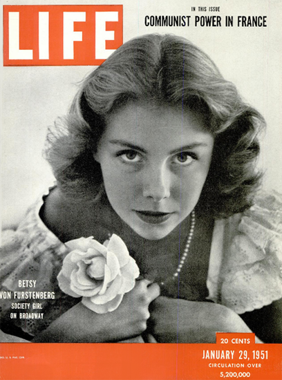 Betsy von Furstenberg on Broadway 29 Jan 1951 Copyright Life Magazine | Life Magazine BW Photo Covers 1936-1970