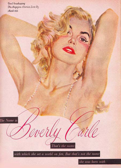 Beverly Carle 1955 She Set A World On Fire | Sex Appeal Vintage Ads and Covers 1891-1970