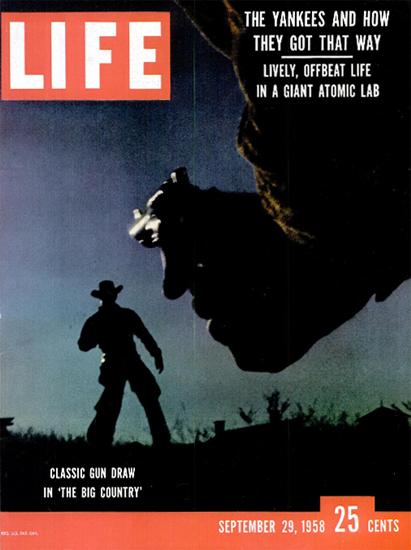 Big Country Classic Gun Draw 29 Sep 1958 Copyright Life Magazine | Life Magazine Color Photo Covers 1937-1970