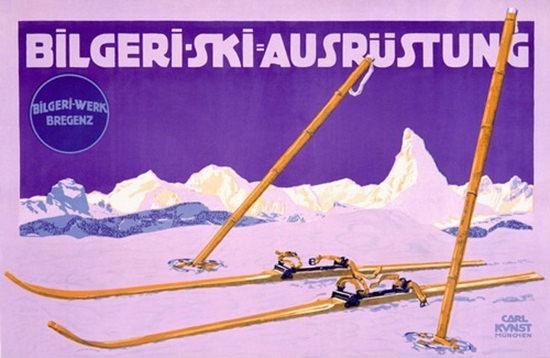 Bilgeri Ski-Ausruestung Bregenz 1912 Carl Kunst   Vintage Ad and Cover Art 1891-1970
