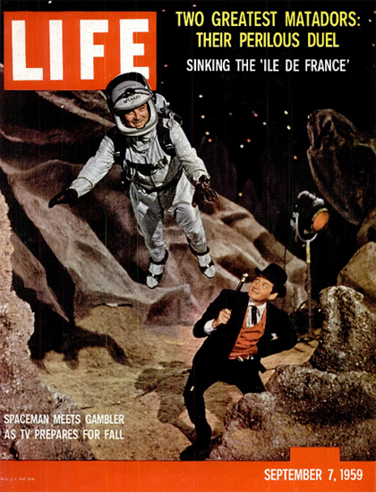 Bill Lundigan Gene Barry TV Fall 7 Sep 1959 Copyright Life Magazine | Life Magazine Color Photo Covers 1937-1970