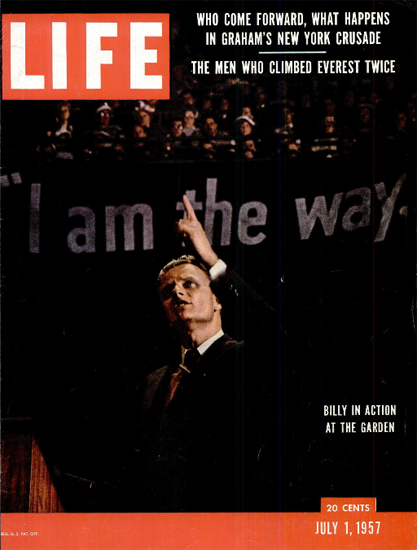 Billy Graham in Action at the Garden 1 Jul 1957 Copyright Life Magazine | Life Magazine Color Photo Covers 1937-1970