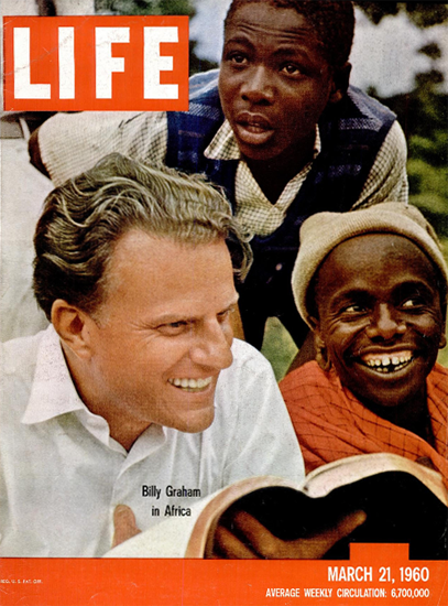 Billy Graham in Africa 21 Mar 1960 Copyright Life Magazine | Life Magazine Color Photo Covers 1937-1970