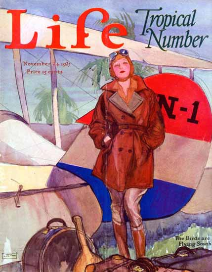 Birds are flying South Life Humor Magazine 1927-11-24 Copyright | Life Magazine Graphic Art Covers 1891-1936
