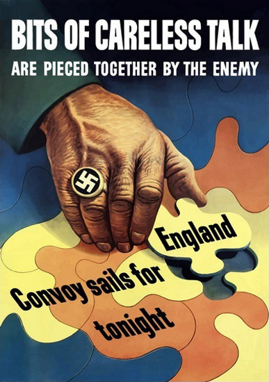 Bits Of Careless Talk Pieced Together By Enemy | Vintage War Propaganda Posters 1891-1970